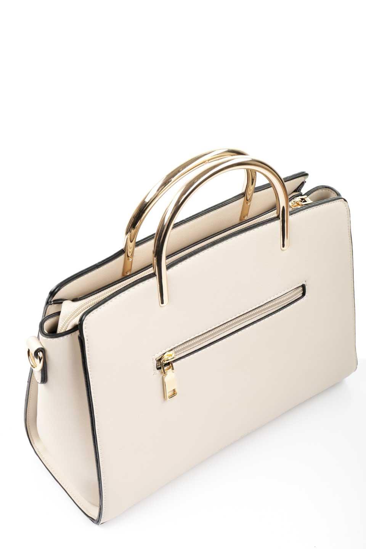 meliebiancoのEileen(Bone)ゴールドハンドル・ハンドバッグ/海外ファッション好きにオススメのインポートバッグとかばん、MelieBianco(メリービアンコ)のバッグやハンドバッグ。仕事用としても使える上品ハンドバッグ。手頃なサイズ感で広めのマチが嬉しいバッグです。/main-6