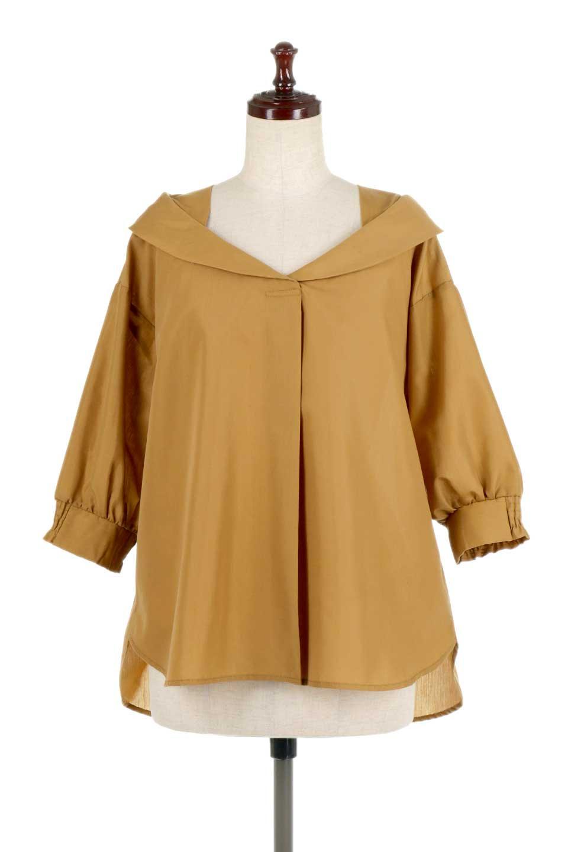 3/4SleeveFoldedCollarblouse7分袖・フォールドカラーブラウス大人カジュアルに最適な海外ファッションのothers(その他インポートアイテム)のトップスやシャツ・ブラウス。襟元が特徴のフォールドカラーブラウス。背中を抜いたときのシルエットが絶品の春ブラウス。/main-5