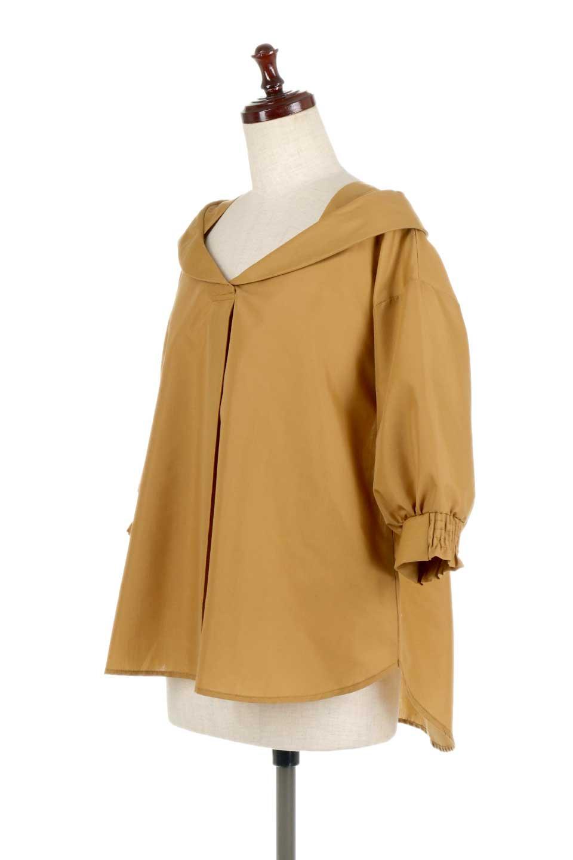 3/4SleeveFoldedCollarblouse7分袖・フォールドカラーブラウス大人カジュアルに最適な海外ファッションのothers(その他インポートアイテム)のトップスやシャツ・ブラウス。襟元が特徴のフォールドカラーブラウス。背中を抜いたときのシルエットが絶品の春ブラウス。/main-6