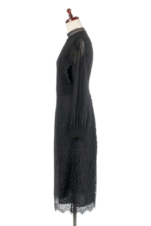 LongSleeveFullLaceDressハイネック・フルレースワンピース大人カジュアルに最適な海外ファッションのothers(その他インポートアイテム)のワンピースやミディワンピース。低めのハイネックが可愛いミディ丈レースワンピース。袖には腕が細く見えるようなレースを用いて全体的にスッキリしたシルエットになっています。/main-2