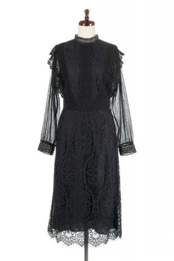 海外ファッションや大人カジュアルに最適なインポートセレクトアイテムのLong Sleeve Full Lace Dress ハイネック・フルレースワンピース