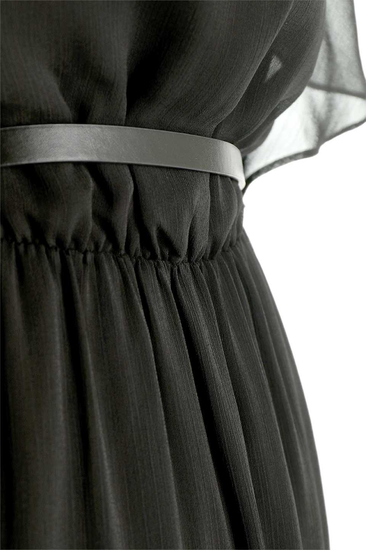RuffleSleeveChiffonDressラッフルスリーブ・ロングドレスfromDenmark大人カジュアルに最適な海外ファッションのothers(その他インポートアイテム)のワンピースやマキシワンピース。肩のヒラヒラが可愛いブラックのロングドレス。素材はソフトで透け感のあるシフォン生地で安心のウエストゴム仕様。/main-10