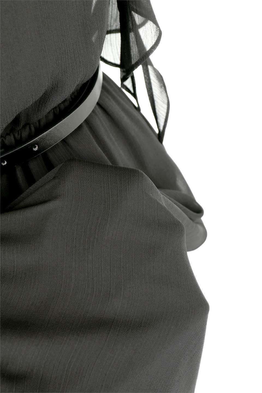 RuffleSleeveChiffonDressラッフルスリーブ・ロングドレスfromDenmark大人カジュアルに最適な海外ファッションのothers(その他インポートアイテム)のワンピースやマキシワンピース。肩のヒラヒラが可愛いブラックのロングドレス。素材はソフトで透け感のあるシフォン生地で安心のウエストゴム仕様。/main-15