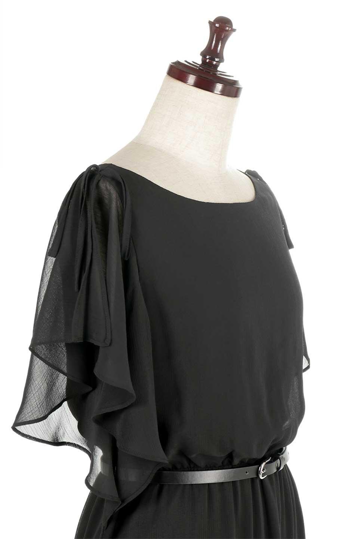 RuffleSleeveChiffonDressラッフルスリーブ・ロングドレスfromDenmark大人カジュアルに最適な海外ファッションのothers(その他インポートアイテム)のワンピースやマキシワンピース。肩のヒラヒラが可愛いブラックのロングドレス。素材はソフトで透け感のあるシフォン生地で安心のウエストゴム仕様。/main-5
