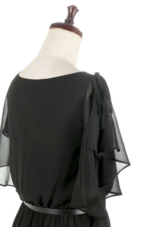 RuffleSleeveChiffonDressラッフルスリーブ・ロングドレスfromDenmark大人カジュアルに最適な海外ファッションのothers(その他インポートアイテム)のワンピースやマキシワンピース。肩のヒラヒラが可愛いブラックのロングドレス。素材はソフトで透け感のあるシフォン生地で安心のウエストゴム仕様。/main-7