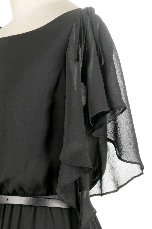 RuffleSleeveChiffonDressラッフルスリーブ・ロングドレスfromDenmark大人カジュアルに最適な海外ファッションのothers(その他インポートアイテム)のワンピースやマキシワンピース。肩のヒラヒラが可愛いブラックのロングドレス。素材はソフトで透け感のあるシフォン生地で安心のウエストゴム仕様。/main-8
