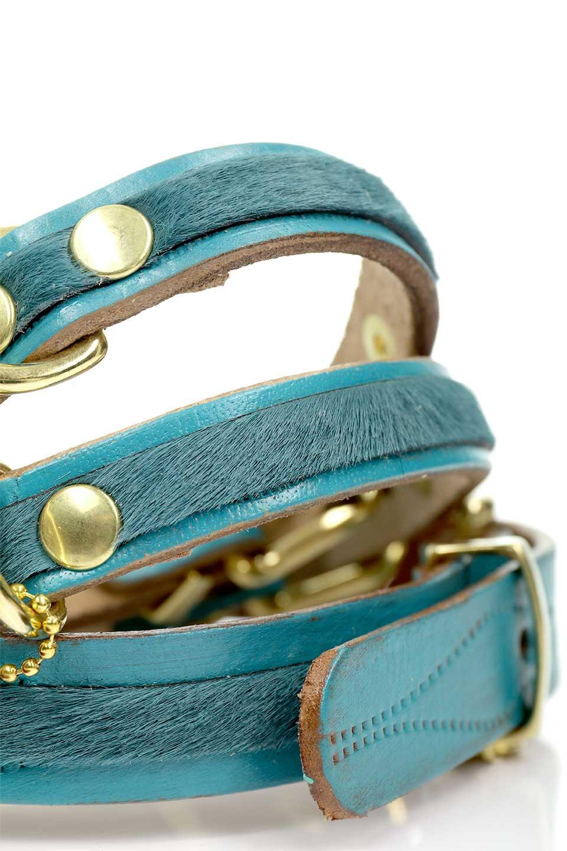 LowlandsCOUTUREのWildRomance#14ワイルドロマンス#14・本革ドッグカラー/LowlandsCoutureのドッググッズや。エイジング加工のレザーとハラコの組み合わせが可愛い本革ドッグカラー。濃いめのブルーグリーンにワインレッドの本革タッセルで高級感を感じる色のコンビネーションが最高にシックです。/main-5
