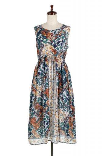 海外ファッションや大人カジュアルに最適なインポートセレクトアイテムのIndia Cotton Floral Print Dress インドコットン・花柄ワンピース