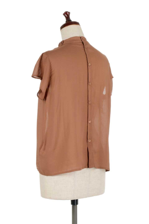 BackButtonGatherNeckBlouseバックボタン・ギャザーネックブラウス大人カジュアルに最適な海外ファッションのothers(その他インポートアイテム)のトップスやシャツ・ブラウス。ギャザーネックのドレープ感が特徴の半袖ブラウス。ゆとりのあるシルエットにチューリップスリーブの組み合わせも可愛いアイテム。/main-13