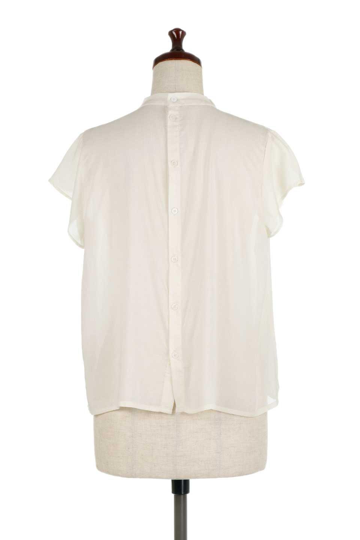 BackButtonGatherNeckBlouseバックボタン・ギャザーネックブラウス大人カジュアルに最適な海外ファッションのothers(その他インポートアイテム)のトップスやシャツ・ブラウス。ギャザーネックのドレープ感が特徴の半袖ブラウス。ゆとりのあるシルエットにチューリップスリーブの組み合わせも可愛いアイテム。/main-9