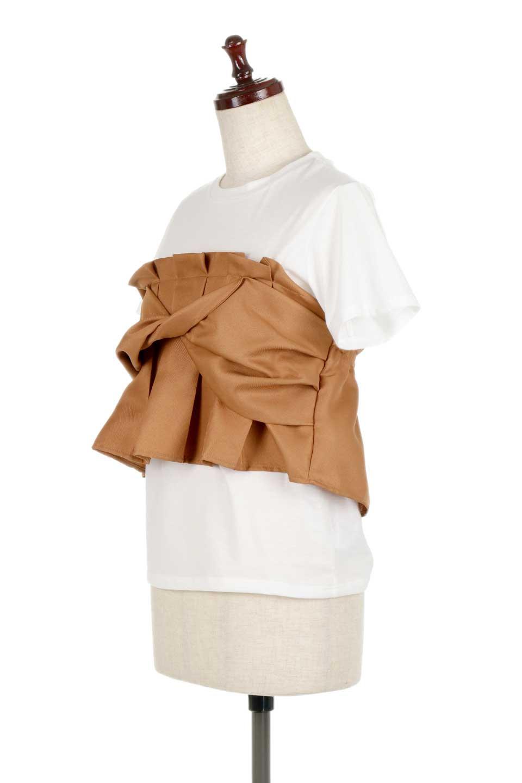 FauxLayeredBustierTopビスチェスタイル・ドッキングTシャツ大人カジュアルに最適な海外ファッションのothers(その他インポートアイテム)のトップスやTシャツ。シンプルTシャツとビスチェがドッキングしたトップス。ビスチェは縫製されているのでずれ落ちる心配もありません。/main-6
