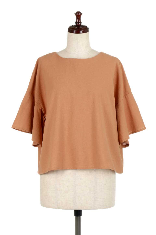 BackTuckFlareSleeveBlouseバックタック・フレアスリーブブラウス大人カジュアルに最適な海外ファッションのothers(その他インポートアイテム)のトップスやシャツ・ブラウス。サラリとしたリネン風の生地が涼し気なブラウス。広めのフレアスリーブとタックの入った身頃がボリューミーなアイテム。/main-5