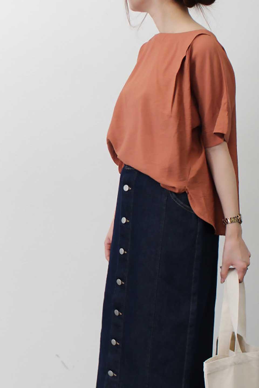 FrontTuckShortSleeveBlouseフロントタックブラウス大人カジュアルに最適な海外ファッションのothers(その他インポートアイテム)のトップスやシャツ・ブラウス。大きめシルエットで抜け感のある半袖ブラウス。短め丈なのでインでもアウトでも楽しめます。/main-28