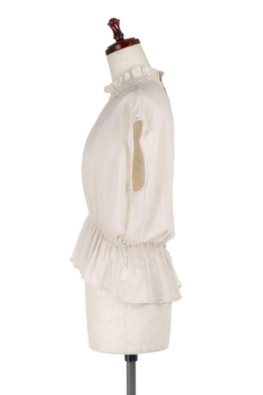 FrilledNeckSleevelessBlouseギャザーネック・ノースリーブブラウス大人カジュアルに最適な海外ファッションのothers(その他インポートアイテム)のトップスやシャツ・ブラウス。フリルの首元が可愛いノースリーブブラウス。ゆったりシルエットですがウエストのギャザーが引き締めてくれます。/main-12