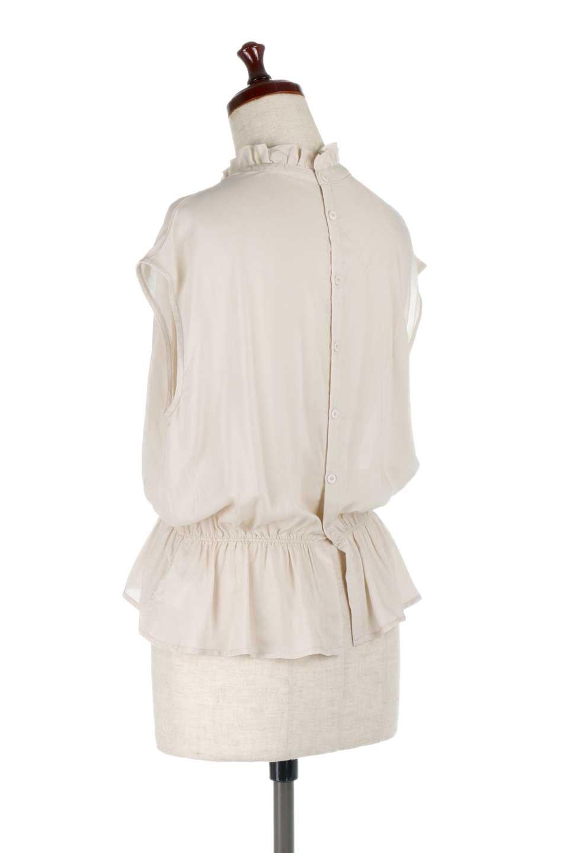 FrilledNeckSleevelessBlouseギャザーネック・ノースリーブブラウス大人カジュアルに最適な海外ファッションのothers(その他インポートアイテム)のトップスやシャツ・ブラウス。フリルの首元が可愛いノースリーブブラウス。ゆったりシルエットですがウエストのギャザーが引き締めてくれます。/main-13