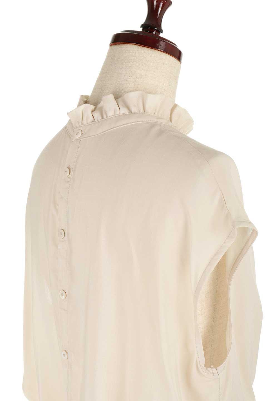 FrilledNeckSleevelessBlouseギャザーネック・ノースリーブブラウス大人カジュアルに最適な海外ファッションのothers(その他インポートアイテム)のトップスやシャツ・ブラウス。フリルの首元が可愛いノースリーブブラウス。ゆったりシルエットですがウエストのギャザーが引き締めてくれます。/main-22