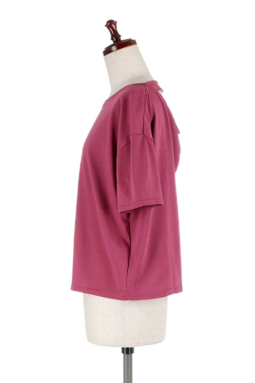 DrapeBackPull-overTopバックドレープ・カットソー大人カジュアルに最適な海外ファッションのothers(その他インポートアイテム)のトップスやシャツ・ブラウス。背中のドレープ感が可愛い半袖カットソー。やや厚めのTシャツ素材でこれからの季節におすすめのアイテムです。/main-17