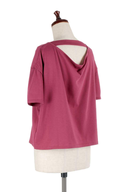 DrapeBackPull-overTopバックドレープ・カットソー大人カジュアルに最適な海外ファッションのothers(その他インポートアイテム)のトップスやシャツ・ブラウス。背中のドレープ感が可愛い半袖カットソー。やや厚めのTシャツ素材でこれからの季節におすすめのアイテムです。/main-18