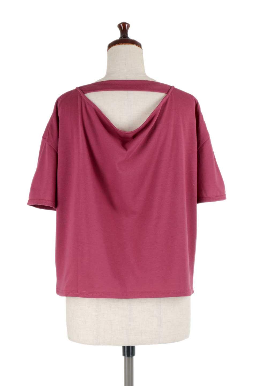 DrapeBackPull-overTopバックドレープ・カットソー大人カジュアルに最適な海外ファッションのothers(その他インポートアイテム)のトップスやシャツ・ブラウス。背中のドレープ感が可愛い半袖カットソー。やや厚めのTシャツ素材でこれからの季節におすすめのアイテムです。/main-19