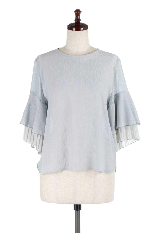 FauxLayeredPleatedSleeveTopプリーツスリーブ・フェイクレイヤードトップス大人カジュアルに最適な海外ファッションのothers(その他インポートアイテム)のトップスやシャツ・ブラウス。プリーツ入の袖が可愛いシフォンのブラウス。上品な透け感とフェミニンなディテールがオススメの4ポイントです。/main-10
