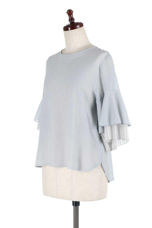 FauxLayeredPleatedSleeveTopプリーツスリーブ・フェイクレイヤードトップス大人カジュアルに最適な海外ファッションのothers(その他インポートアイテム)のトップスやシャツ・ブラウス。プリーツ入の袖が可愛いシフォンのブラウス。上品な透け感とフェミニンなディテールがオススメの4ポイントです。/main-11