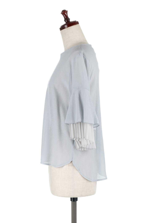 FauxLayeredPleatedSleeveTopプリーツスリーブ・フェイクレイヤードトップス大人カジュアルに最適な海外ファッションのothers(その他インポートアイテム)のトップスやシャツ・ブラウス。プリーツ入の袖が可愛いシフォンのブラウス。上品な透け感とフェミニンなディテールがオススメの4ポイントです。/main-12