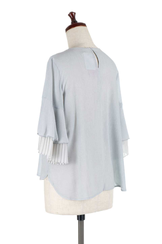 FauxLayeredPleatedSleeveTopプリーツスリーブ・フェイクレイヤードトップス大人カジュアルに最適な海外ファッションのothers(その他インポートアイテム)のトップスやシャツ・ブラウス。プリーツ入の袖が可愛いシフォンのブラウス。上品な透け感とフェミニンなディテールがオススメの4ポイントです。/main-13