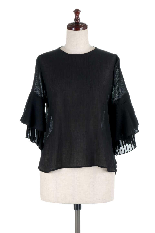 FauxLayeredPleatedSleeveTopプリーツスリーブ・フェイクレイヤードトップス大人カジュアルに最適な海外ファッションのothers(その他インポートアイテム)のトップスやシャツ・ブラウス。プリーツ入の袖が可愛いシフォンのブラウス。上品な透け感とフェミニンなディテールがオススメの4ポイントです。/main-15