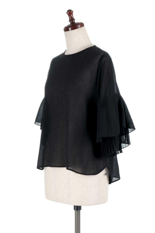 FauxLayeredPleatedSleeveTopプリーツスリーブ・フェイクレイヤードトップス大人カジュアルに最適な海外ファッションのothers(その他インポートアイテム)のトップスやシャツ・ブラウス。プリーツ入の袖が可愛いシフォンのブラウス。上品な透け感とフェミニンなディテールがオススメの4ポイントです。/main-16