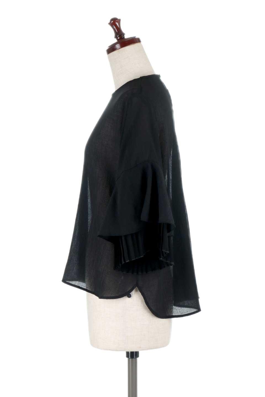 FauxLayeredPleatedSleeveTopプリーツスリーブ・フェイクレイヤードトップス大人カジュアルに最適な海外ファッションのothers(その他インポートアイテム)のトップスやシャツ・ブラウス。プリーツ入の袖が可愛いシフォンのブラウス。上品な透け感とフェミニンなディテールがオススメの4ポイントです。/main-17