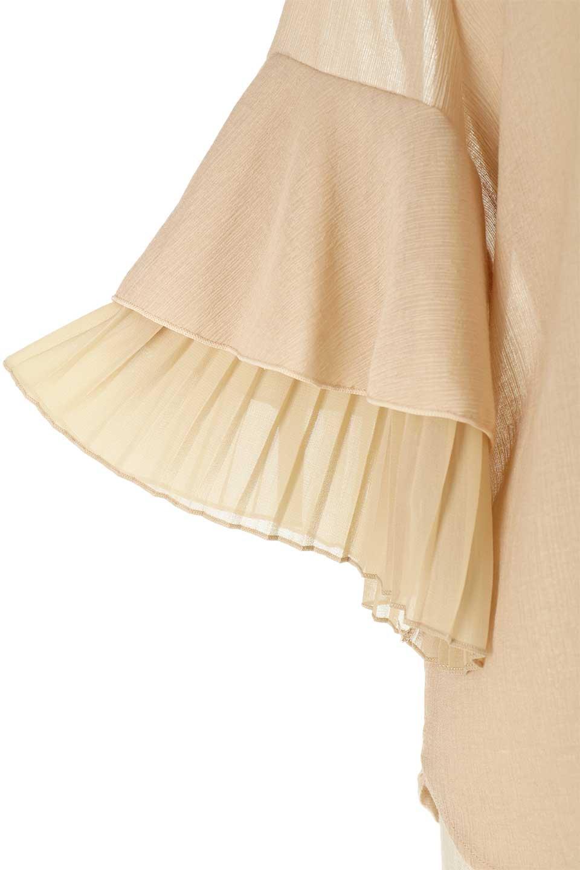 FauxLayeredPleatedSleeveTopプリーツスリーブ・フェイクレイヤードトップス大人カジュアルに最適な海外ファッションのothers(その他インポートアイテム)のトップスやシャツ・ブラウス。プリーツ入の袖が可愛いシフォンのブラウス。上品な透け感とフェミニンなディテールがオススメの4ポイントです。/main-23