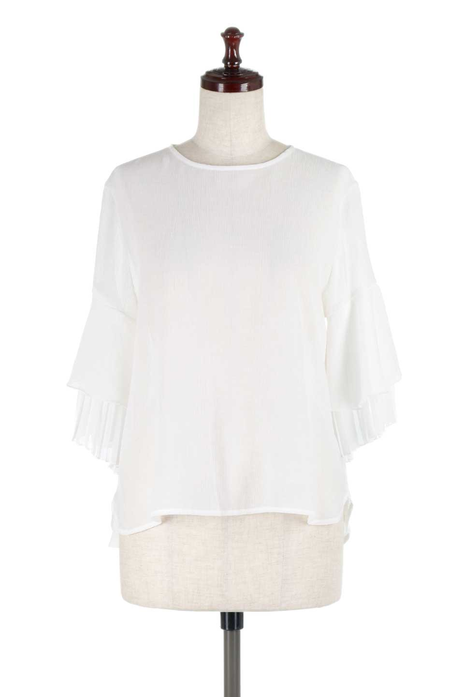 FauxLayeredPleatedSleeveTopプリーツスリーブ・フェイクレイヤードトップス大人カジュアルに最適な海外ファッションのothers(その他インポートアイテム)のトップスやシャツ・ブラウス。プリーツ入の袖が可愛いシフォンのブラウス。上品な透け感とフェミニンなディテールがオススメの4ポイントです。/main-5