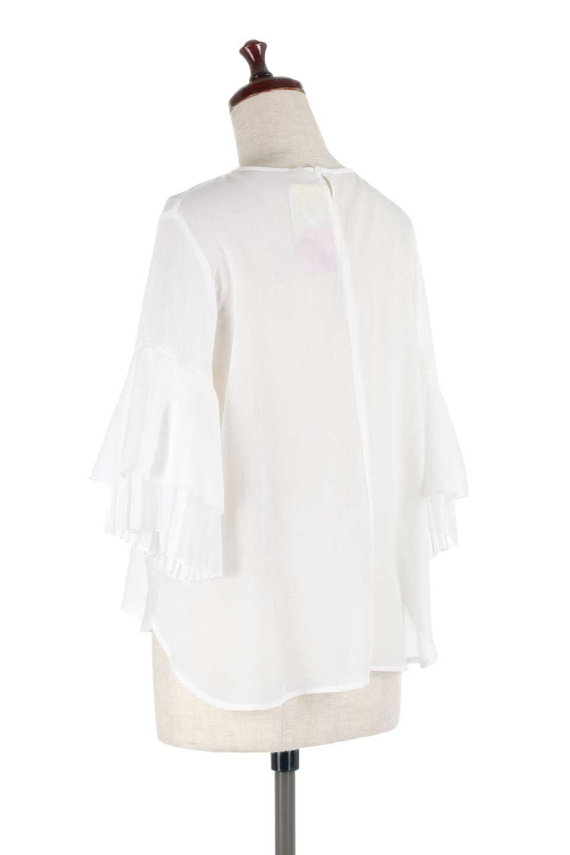 FauxLayeredPleatedSleeveTopプリーツスリーブ・フェイクレイヤードトップス大人カジュアルに最適な海外ファッションのothers(その他インポートアイテム)のトップスやシャツ・ブラウス。プリーツ入の袖が可愛いシフォンのブラウス。上品な透け感とフェミニンなディテールがオススメの4ポイントです。/main-7