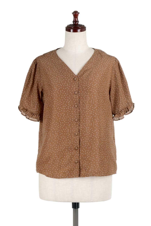 VNeckDottedBlouseVネック・ドットプリントブラウス大人カジュアルに最適な海外ファッションのothers(その他インポートアイテム)のトップスやシャツ・ブラウス。ランダムなドット柄が可愛いVネックのブラウス。半端丈の袖とスクエアタイプの裾が独特な雰囲気のアイテムです。/main-10