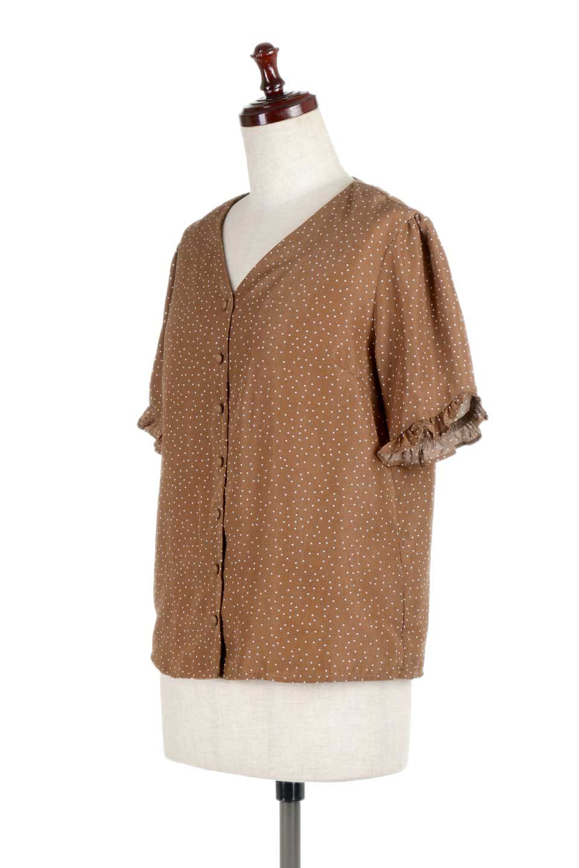 VNeckDottedBlouseVネック・ドットプリントブラウス大人カジュアルに最適な海外ファッションのothers(その他インポートアイテム)のトップスやシャツ・ブラウス。ランダムなドット柄が可愛いVネックのブラウス。半端丈の袖とスクエアタイプの裾が独特な雰囲気のアイテムです。/main-11