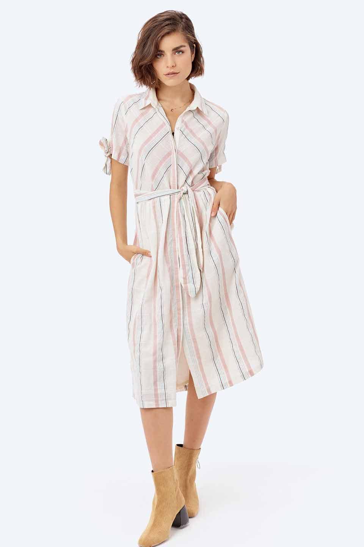 LOVESTITCHのMarlaStripedDressマルチストライプ・リボンシャツワンピース/海外ファッションが好きな大人カジュアルのためのLOVESTITCH(ラブステッチ)のワンピースやミディワンピース。優しい色合いのマルチストライプが可愛いシャツワンピース。アメリカンレトロな雰囲気のシルエット。/main-17