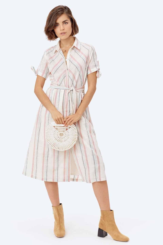 LOVESTITCHのMarlaStripedDressマルチストライプ・リボンシャツワンピース/海外ファッションが好きな大人カジュアルのためのLOVESTITCH(ラブステッチ)のワンピースやミディワンピース。優しい色合いのマルチストライプが可愛いシャツワンピース。アメリカンレトロな雰囲気のシルエット。/main-18