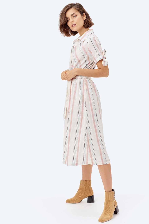 LOVESTITCHのMarlaStripedDressマルチストライプ・リボンシャツワンピース/海外ファッションが好きな大人カジュアルのためのLOVESTITCH(ラブステッチ)のワンピースやミディワンピース。優しい色合いのマルチストライプが可愛いシャツワンピース。アメリカンレトロな雰囲気のシルエット。/main-20