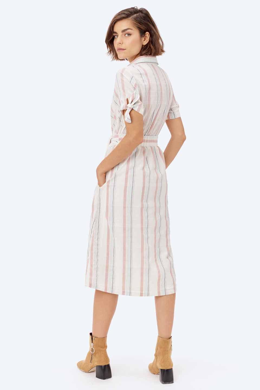 LOVESTITCHのMarlaStripedDressマルチストライプ・リボンシャツワンピース/海外ファッションが好きな大人カジュアルのためのLOVESTITCH(ラブステッチ)のワンピースやミディワンピース。優しい色合いのマルチストライプが可愛いシャツワンピース。アメリカンレトロな雰囲気のシルエット。/main-21