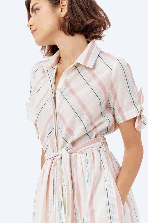 LOVESTITCHのMarlaStripedDressマルチストライプ・リボンシャツワンピース/海外ファッションが好きな大人カジュアルのためのLOVESTITCH(ラブステッチ)のワンピースやミディワンピース。優しい色合いのマルチストライプが可愛いシャツワンピース。アメリカンレトロな雰囲気のシルエット。/main-23