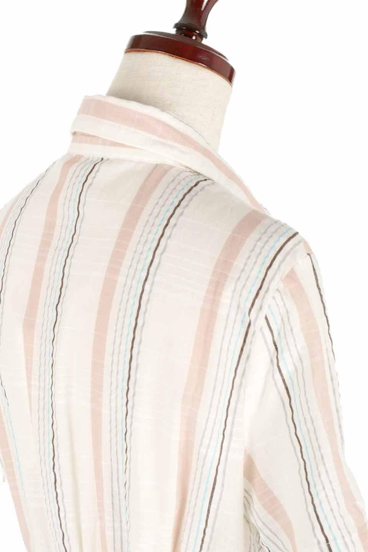LOVESTITCHのMarlaStripedDressマルチストライプ・リボンシャツワンピース/海外ファッションが好きな大人カジュアルのためのLOVESTITCH(ラブステッチ)のワンピースやミディワンピース。優しい色合いのマルチストライプが可愛いシャツワンピース。アメリカンレトロな雰囲気のシルエット。/main-6