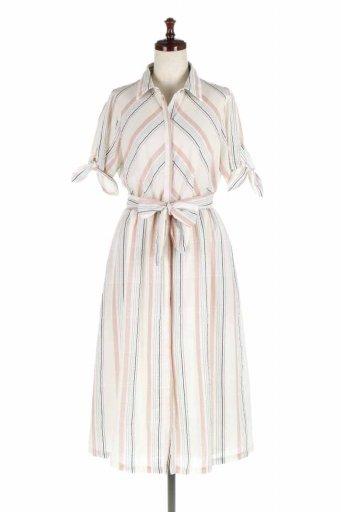 海外ファッション好きのためのカリフォルニアテイストの大人カジュアルインポートブランドLOVESTITCH(ラブステッチ)のMarla Striped Dress マルチストライプ・リボンシャツワンピース