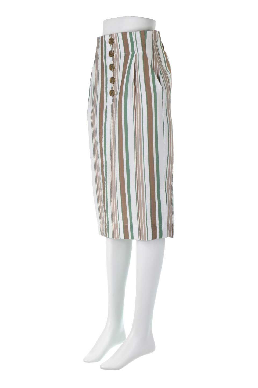 MultiStripedSemiTightSkirtマルチストライプ・セミタイトスカート大人カジュアルに最適な海外ファッションのothers(その他インポートアイテム)のボトムやスカート。多色使いでコーデしやすいマルチストライプのセミタイトスカート。各色にくすんだカラーを使用して派手感を抑えたスカートです。/main-6