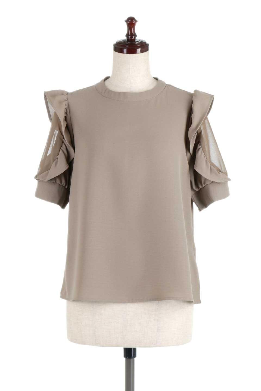 ChiffonSleeveBlouseフリル付き・シフォンスリーブブラウス大人カジュアルに最適な海外ファッションのothers(その他インポートアイテム)のトップスやシャツ・ブラウス。シースルーのシフォンがポイントのオープンショルダータイプの半袖ブラウス。シフォン部分を縁取るフリルのボリューム感で小顔効果も期待できます。/main-15