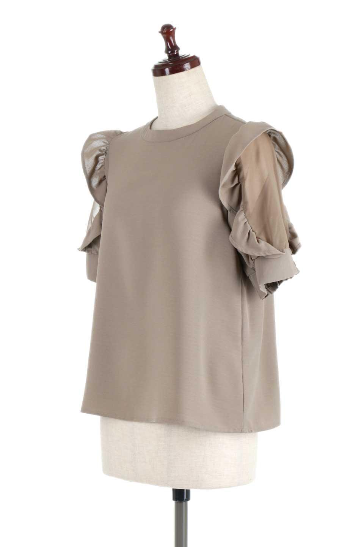 ChiffonSleeveBlouseフリル付き・シフォンスリーブブラウス大人カジュアルに最適な海外ファッションのothers(その他インポートアイテム)のトップスやシャツ・ブラウス。シースルーのシフォンがポイントのオープンショルダータイプの半袖ブラウス。シフォン部分を縁取るフリルのボリューム感で小顔効果も期待できます。/main-16