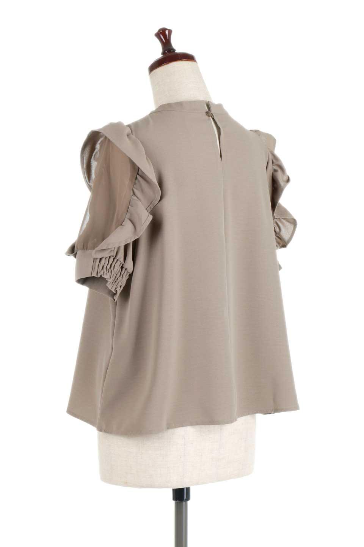 ChiffonSleeveBlouseフリル付き・シフォンスリーブブラウス大人カジュアルに最適な海外ファッションのothers(その他インポートアイテム)のトップスやシャツ・ブラウス。シースルーのシフォンがポイントのオープンショルダータイプの半袖ブラウス。シフォン部分を縁取るフリルのボリューム感で小顔効果も期待できます。/main-18