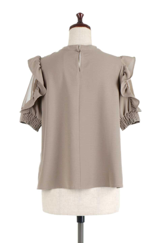 ChiffonSleeveBlouseフリル付き・シフォンスリーブブラウス大人カジュアルに最適な海外ファッションのothers(その他インポートアイテム)のトップスやシャツ・ブラウス。シースルーのシフォンがポイントのオープンショルダータイプの半袖ブラウス。シフォン部分を縁取るフリルのボリューム感で小顔効果も期待できます。/main-19