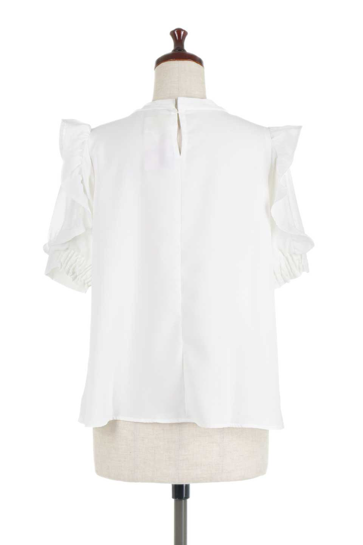 ChiffonSleeveBlouseフリル付き・シフォンスリーブブラウス大人カジュアルに最適な海外ファッションのothers(その他インポートアイテム)のトップスやシャツ・ブラウス。シースルーのシフォンがポイントのオープンショルダータイプの半袖ブラウス。シフォン部分を縁取るフリルのボリューム感で小顔効果も期待できます。/main-9