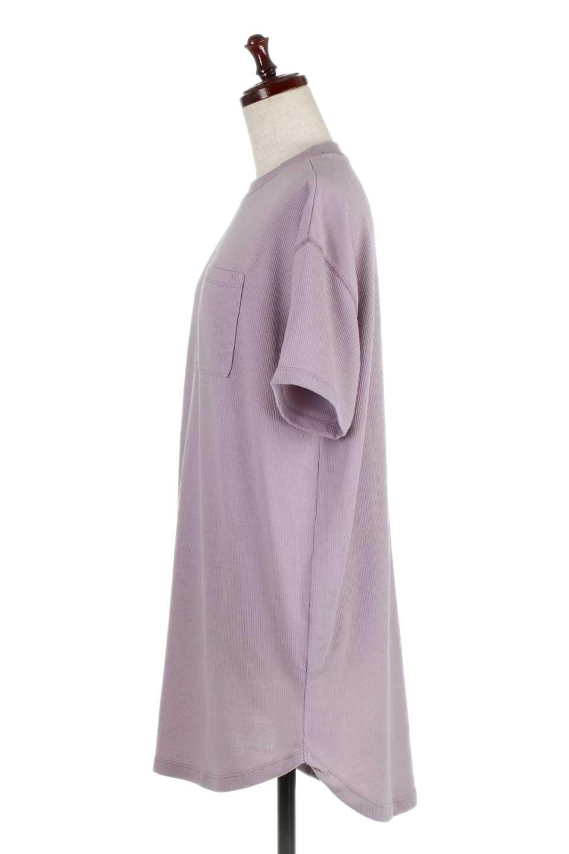 ShortSleeveClueNeckLongTopテレコ素材・ロングトップス大人カジュアルに最適な海外ファッションのothers(その他インポートアイテム)のトップスやカットソー。凹凸感のあるテレコ素材を使用したロング丈の半袖チュニック。そのまま着てもブラウジングしても楽しめるシンプルデザイン。/main-12