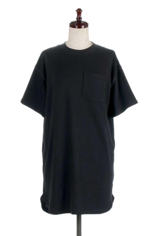 ShortSleeveClueNeckLongTopテレコ素材・ロングトップス大人カジュアルに最適な海外ファッションのothers(その他インポートアイテム)のトップスやカットソー。凹凸感のあるテレコ素材を使用したロング丈の半袖チュニック。そのまま着てもブラウジングしても楽しめるシンプルデザイン。/main-15